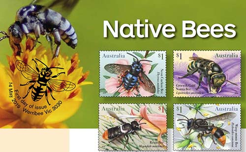 Australia Post stamps featuring native bees